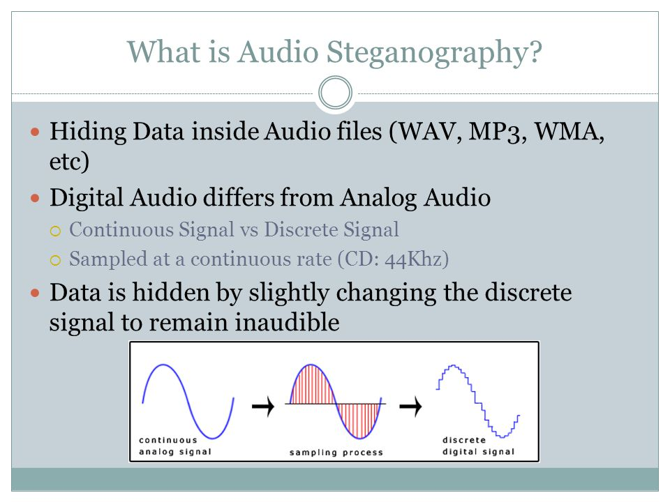 Encoding Data in Audio Multiple Tools to encode audio into MP3 file and format  MP3Stego – Takes a.TXT file and.WAV File and Encodes and formats into a MP3 File  Coagula – Encodes an Image into an MP3 or.WAV File
