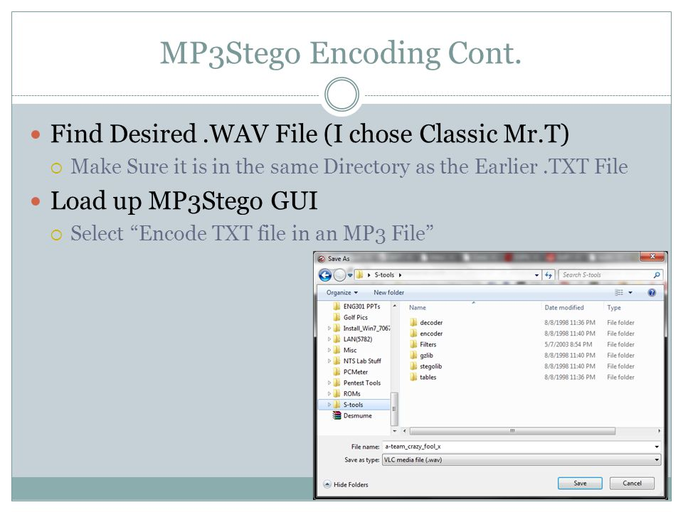Encoding with MP3Stego Cont.