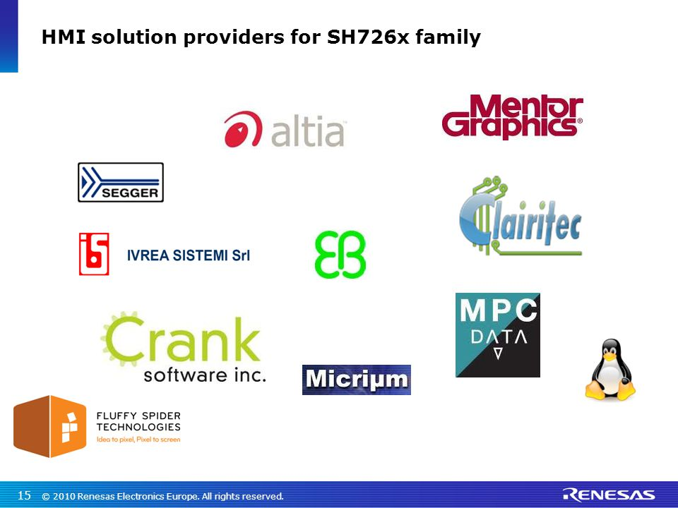 © 2010 Renesas Electronics Europe. All rights reserved. 15 HMI solution providers for SH726x family