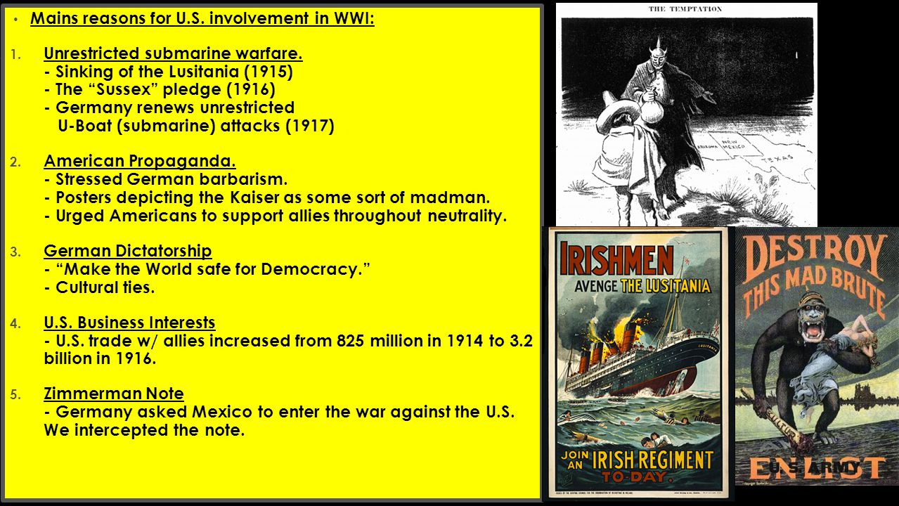 - Mains reasons for U.S. involvement in WWI: 1. Unrestricted submarine warfare.