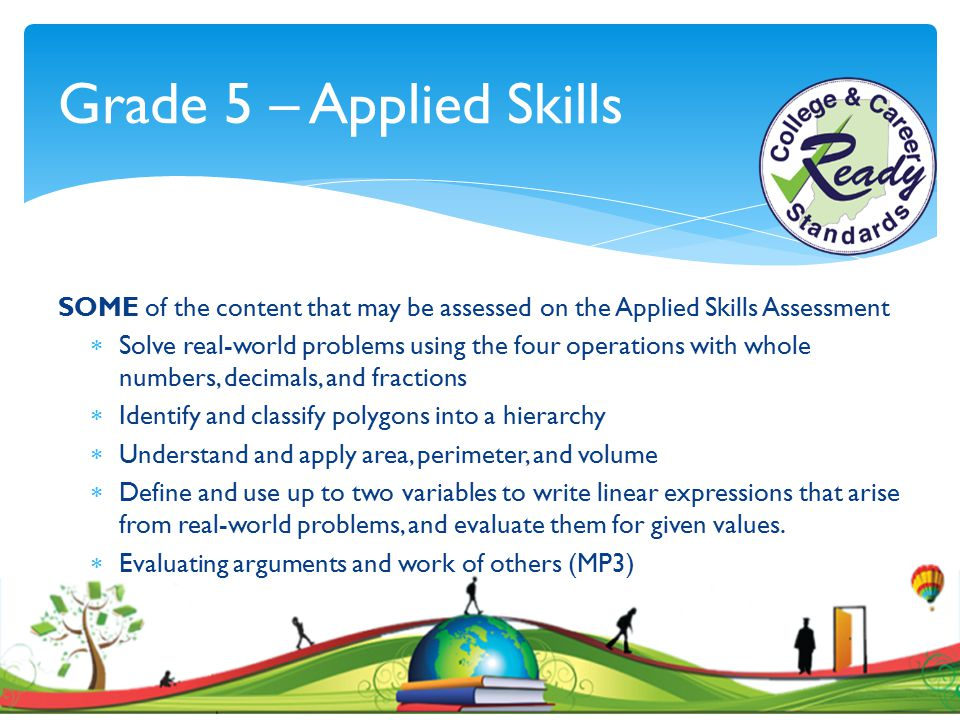 Grade 5 – Applied Skills SOME of the content that may be assessed on the Applied Skills Assessment  Solve real-world problems using the four operatio