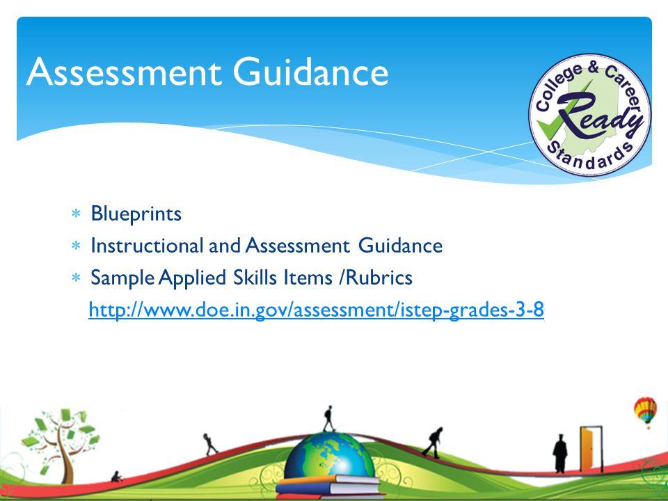  Blueprints  Instructional and Assessment Guidance  Sample Applied Skills Items /Rubrics http://www.doe.in.gov/assessment/istep-grades-3-8 Assessme