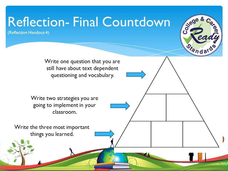 Reflection- Final Countdown (Reflection Handout 4) Write two strategies you are going to implement in your classroom. Write one question that you are