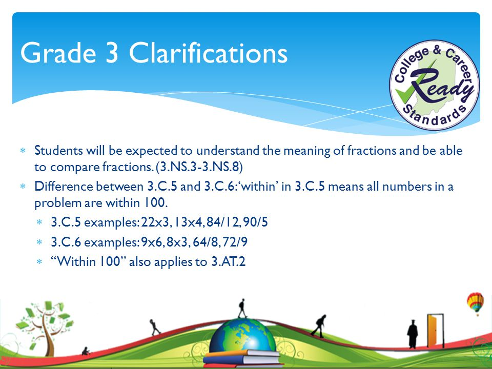 Grade 3 Clarifications  Students will be expected to understand the meaning of fractions and be able to compare fractions. (3.NS.3-3.NS.8)  Differen