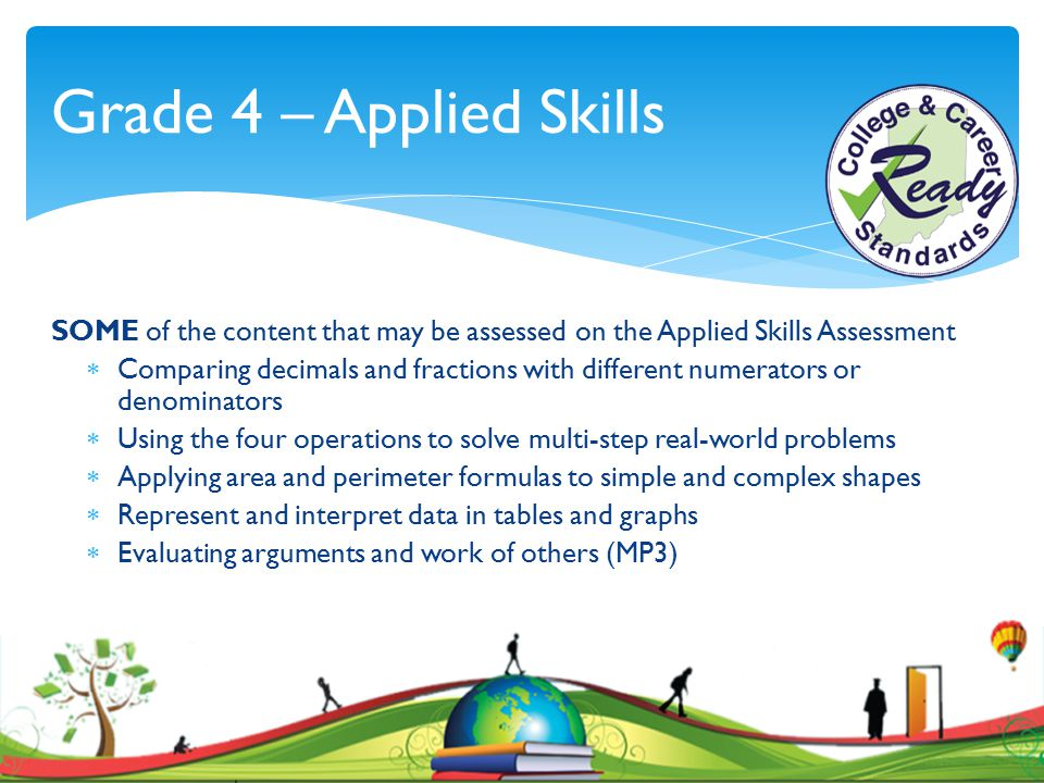 Grade 4 – Applied Skills SOME of the content that may be assessed on the Applied Skills Assessment  Comparing decimals and fractions with different n