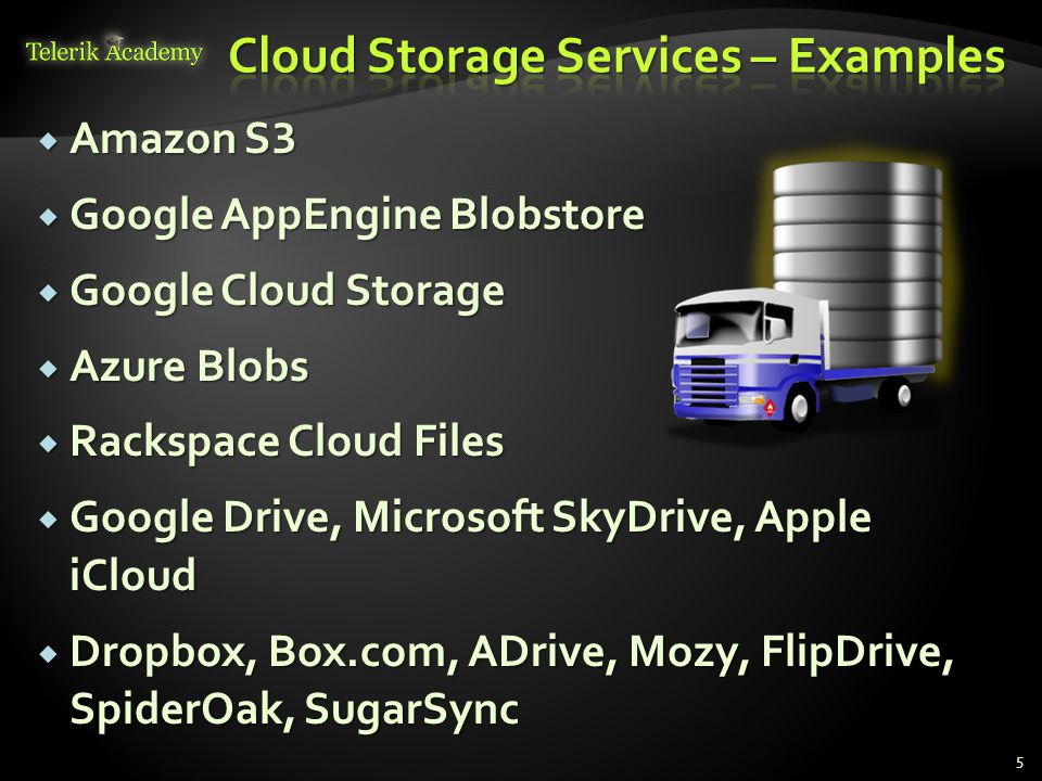  Amazon S 3  Google AppEngine Blobstore  Google Cloud Storage  Azure Blobs  Rackspace Cloud Files  Google Drive, Microsoft SkyDrive, Apple iClou