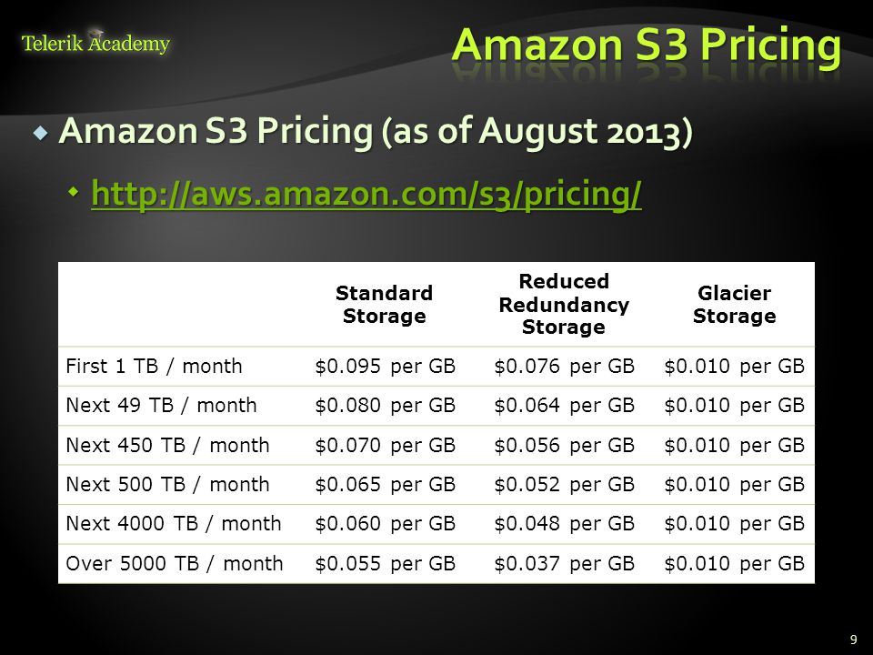  Amazon S 3 Pricing (as of August 2013)  http://aws.amazon.com/s3/pricing/ http://aws.amazon.com/s3/pricing/ 9 Standard Storage Reduced Redundancy S