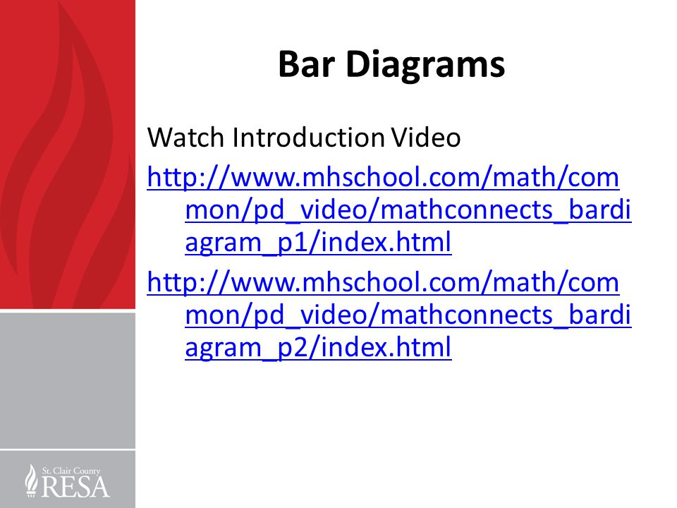 Bar Diagrams Watch Introduction Video http://www.mhschool.com/math/com mon/pd_video/mathconnects_bardi agram_p1/index.html http://www.mhschool.com/mat