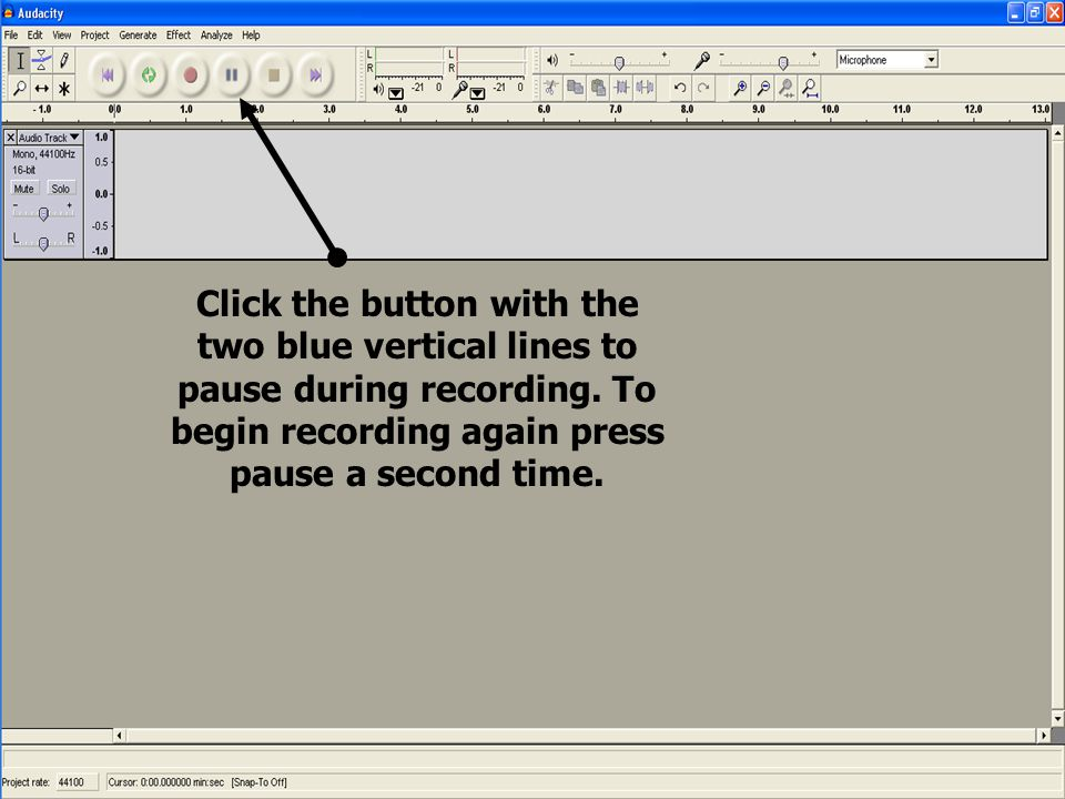 Click the button with the two blue vertical lines to pause during recording. To begin recording again press pause a second time.