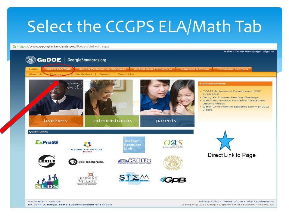 Select the Mathematics option under Browse CCGPS