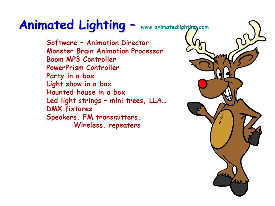 Aurora Galaxia Light Show Pro – Aurora - http://www.aurorashow.com/ Software only Created as a less resource intense sequencing alternative Special functions for Fire Fly's Galaxia - http://www.galaxialighting.com/ Intelligent lights Light strands – one strand 99 white LED's $175 Controller/Power supply - $800 Light Show Pro – www.lightshowpro.com Converts LOR & Aurora Basic, Advanced & Pro versionshttp://www.aurorashow.com/http://www.galaxialighting.com/ www.lightshowpro.com