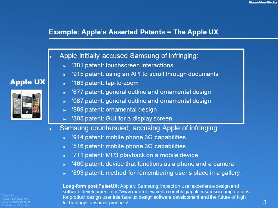 Copyright MauroNewMedia, Inc. 2013 All rights reserved Confidential information 3 MauroNewMedia Example: Apple's Asserted Patents = The Apple UX ► App