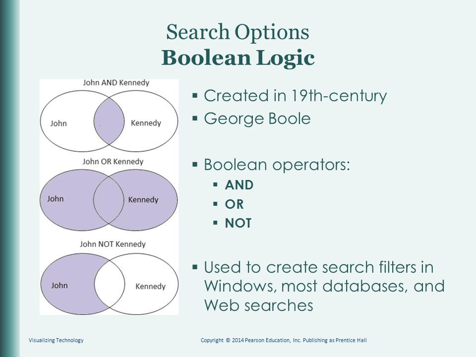 Search Options Boolean Logic  Created in 19th-century  George Boole  Boolean operators:  AND  OR  NOT  Used to create search filters in Windows