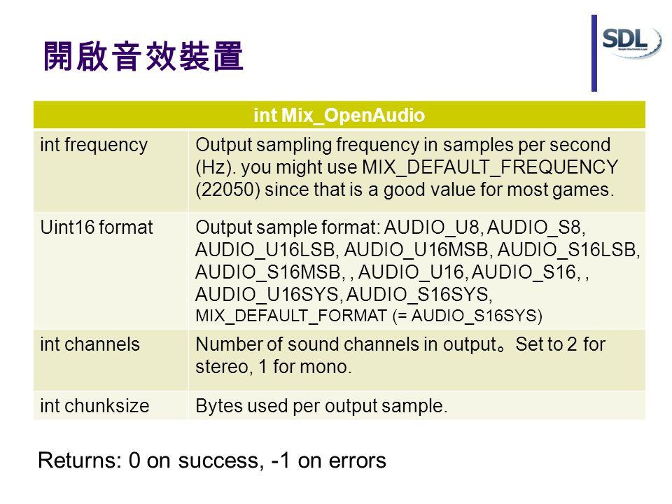 開啟音效裝置 int Mix_OpenAudio int frequencyOutput sampling frequency in samples per second (Hz).