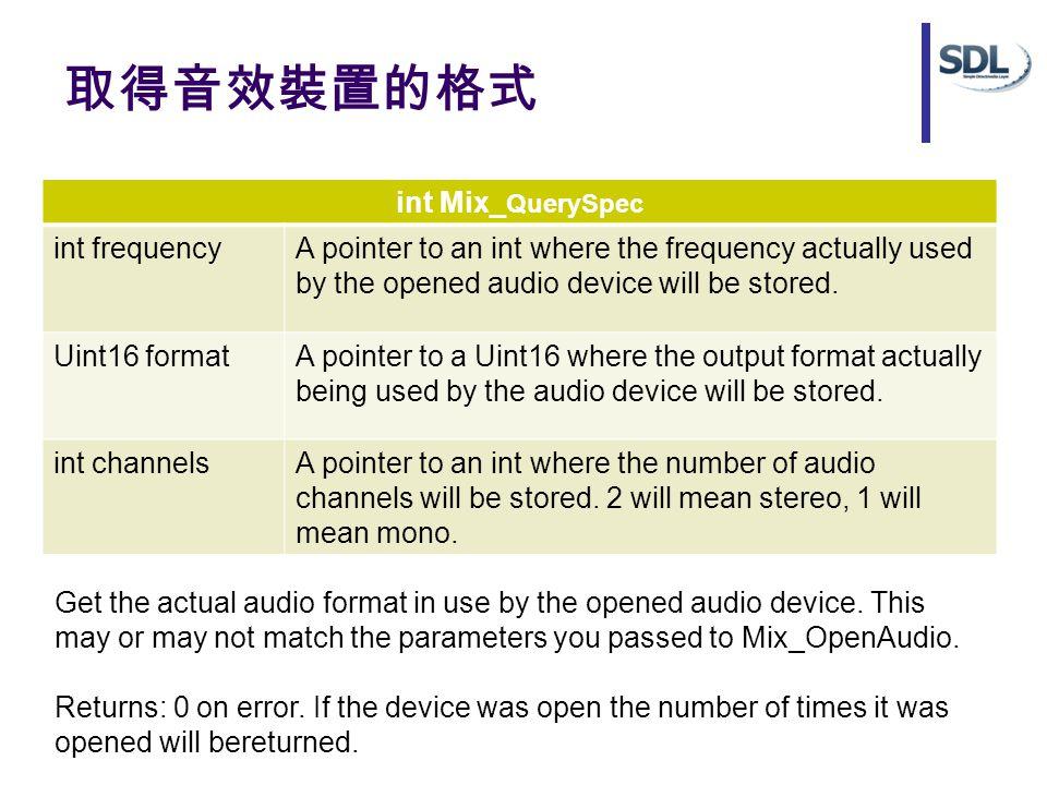 取得音效裝置的格式 int Mix_ QuerySpec int frequencyA pointer to an int where the frequency actually used by the opened audio device will be stored.