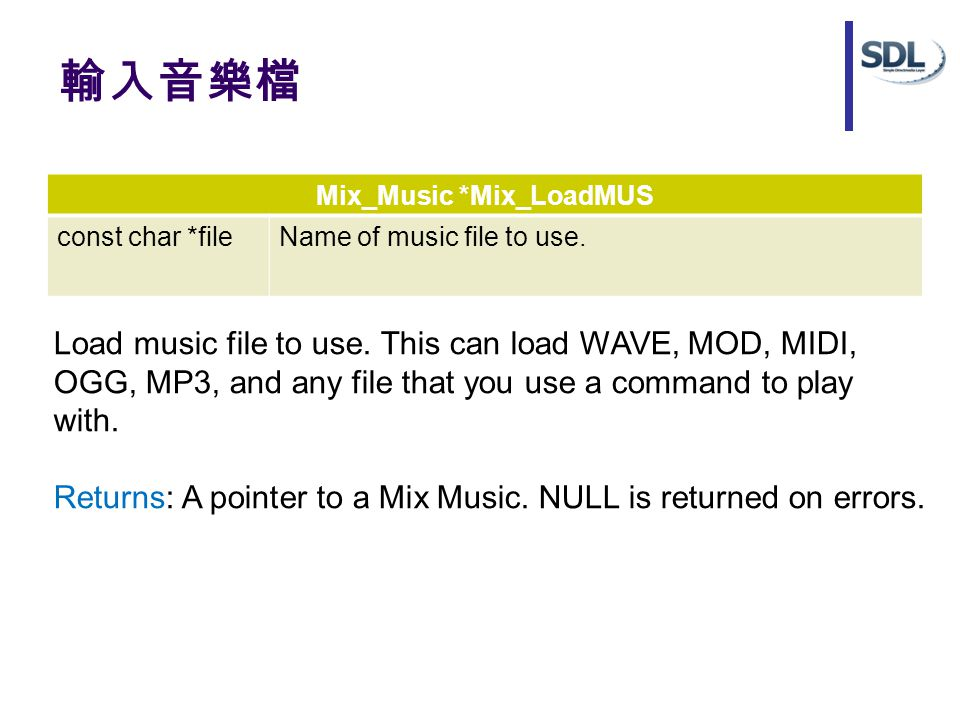 輸入音樂檔 Mix_Music *Mix_LoadMUS const char *fileName of music file to use.