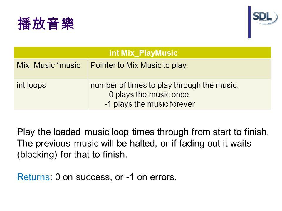 播放音樂 int Mix_PlayMusic Mix_Music *musicPointer to Mix Music to play. int loopsnumber of times to play through the music. 0 plays the music once -1 pla