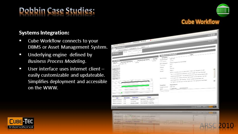Systems Integration:  Cube Workflow connects to your DBMS or Asset Management System.