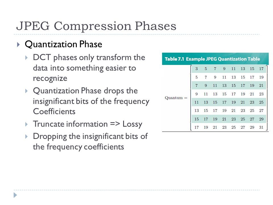 JPEG Compression Phases  Quantization Phase  DCT phases only transform the data into something easier to recognize  Quantization Phase drops the insignificant bits of the frequency Coefficients  Truncate information => Lossy  Dropping the insignificant bits of the frequency coefficients