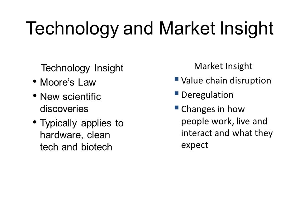 Technology and Market Insight Technology Insight Moore's Law New scientific discoveries Typically applies to hardware, clean tech and biotech Market I