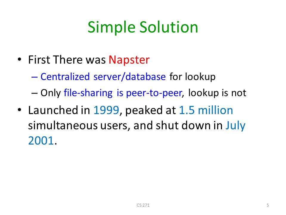 Napster: Publish I have X, Y, and Z! Publish insert(X, 123.2.21.23)... 123.2.21.23 CS 2716