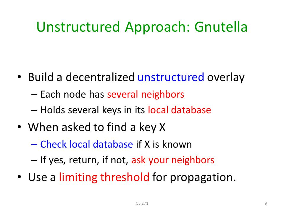 I have file A. Gnutella: Search Where is file A? Query Reply CS 27110