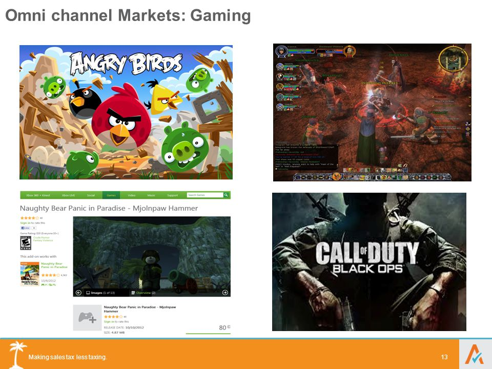 Making sales tax less taxing. Omni channel Markets: Gaming 13