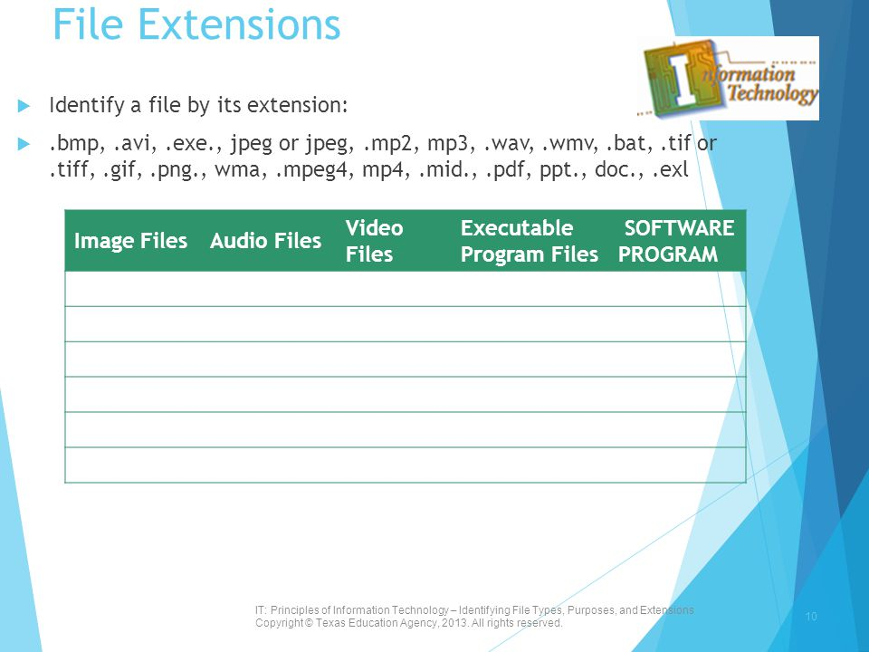 File Extensions  Identify a file by its extension: .bmp,.avi,.exe., jpeg or jpeg,.mp2, mp3,.wav,.wmv,.bat,.tif or.tiff,.gif,.png., wma,.mpeg4, mp4,.