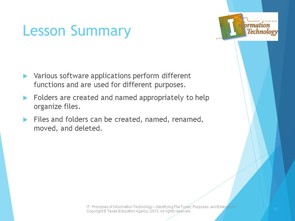 Lesson Summary  Various software applications perform different functions and are used for different purposes.  Folders are created and named approp