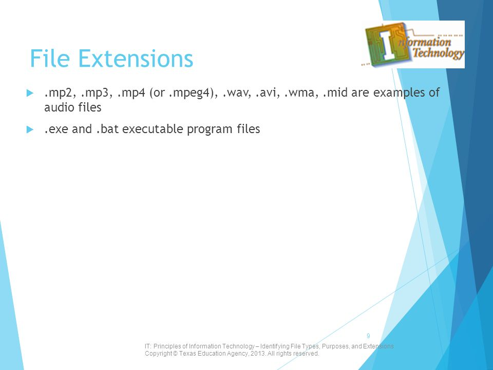 File Extensions .mp2,.mp3,.mp4 (or.mpeg4),.wav,.avi,.wma,.mid are examples of audio files .exe and.bat executable program files IT: Principles of In