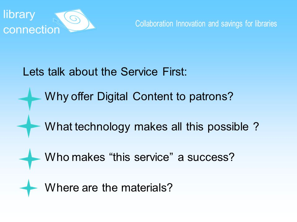 Why offer Digital Content to patrons. What technology makes all this possible .