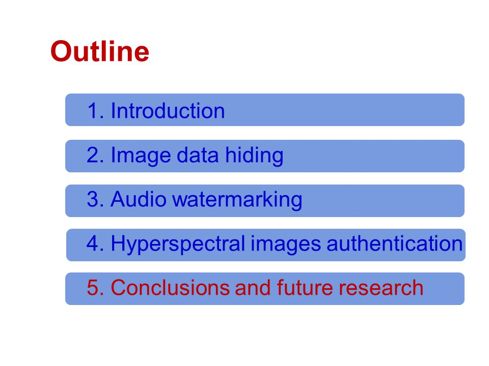 Outline 1. Introduction 2. Image data hiding 3. Audio watermarking 4.