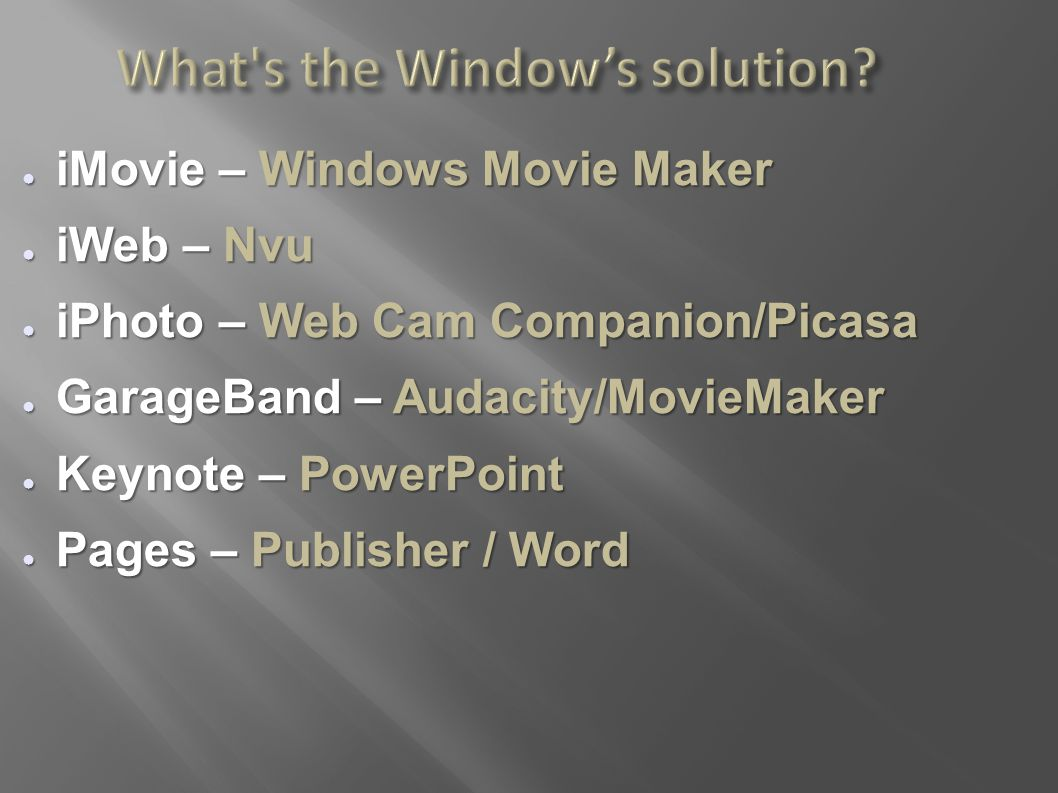 What's the Window's solution? ● iMovie – Windows Movie Maker ● iWeb – Nvu ● iPhoto – Web Cam Companion/Picasa ● GarageBand – Audacity/MovieMaker ● Key