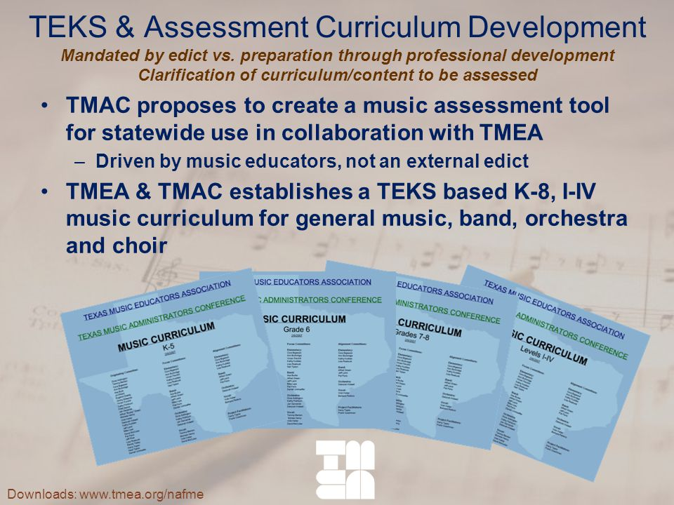 TEKS & Assessment Curriculum Development Mandated by edict vs.