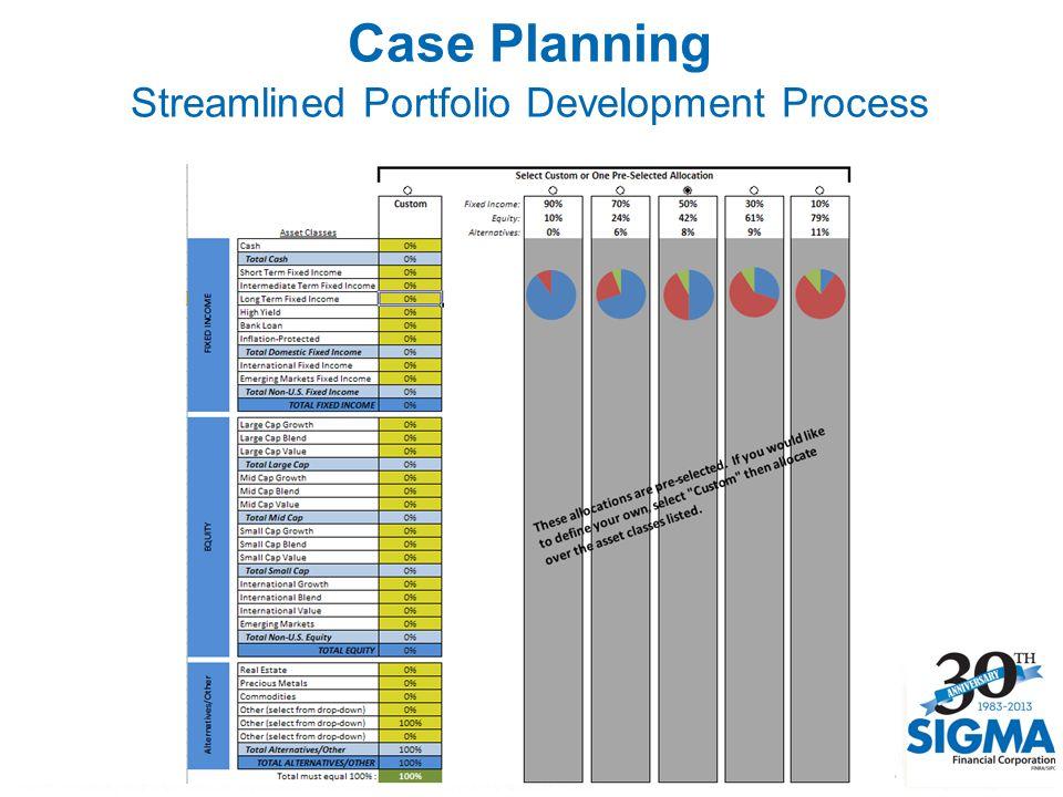 Case Planning Streamlined Portfolio Development Process