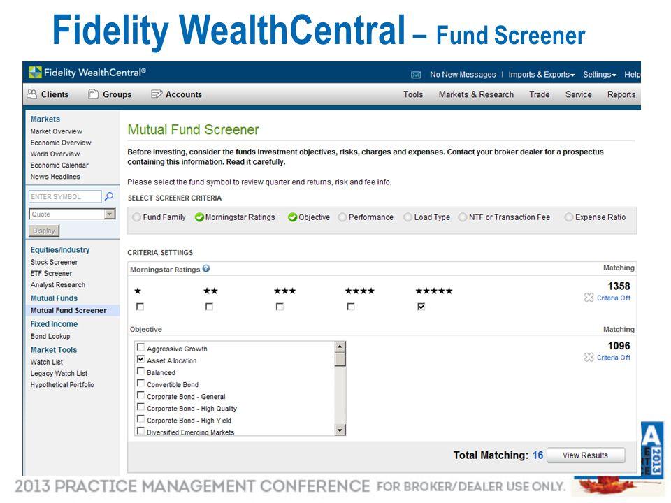 27 Fidelity WealthCentral – Fund Screener