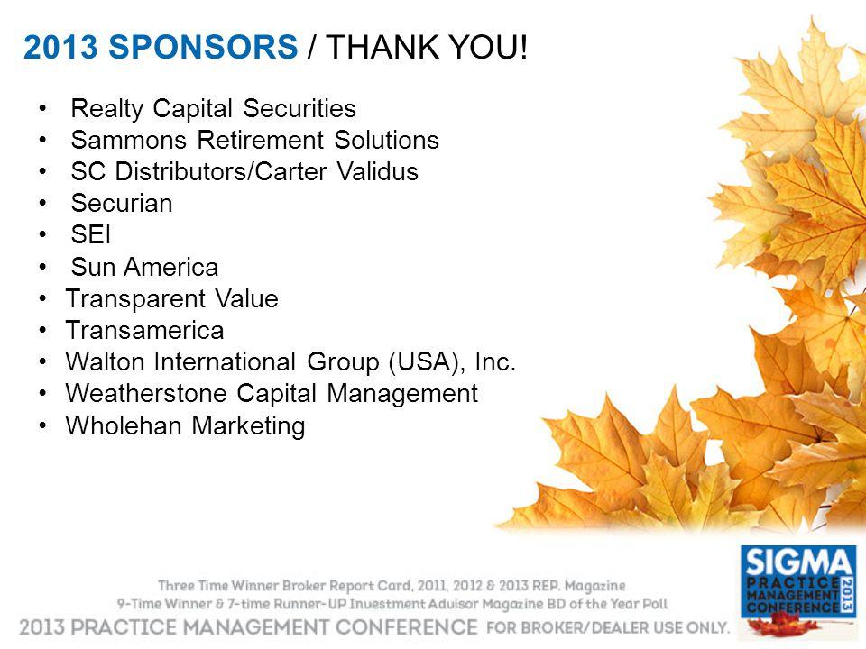 2013 SPONSORS / THANK YOU! Realty Capital Securities Sammons Retirement Solutions SC Distributors/Carter Validus Securian SEI Sun America Transparent