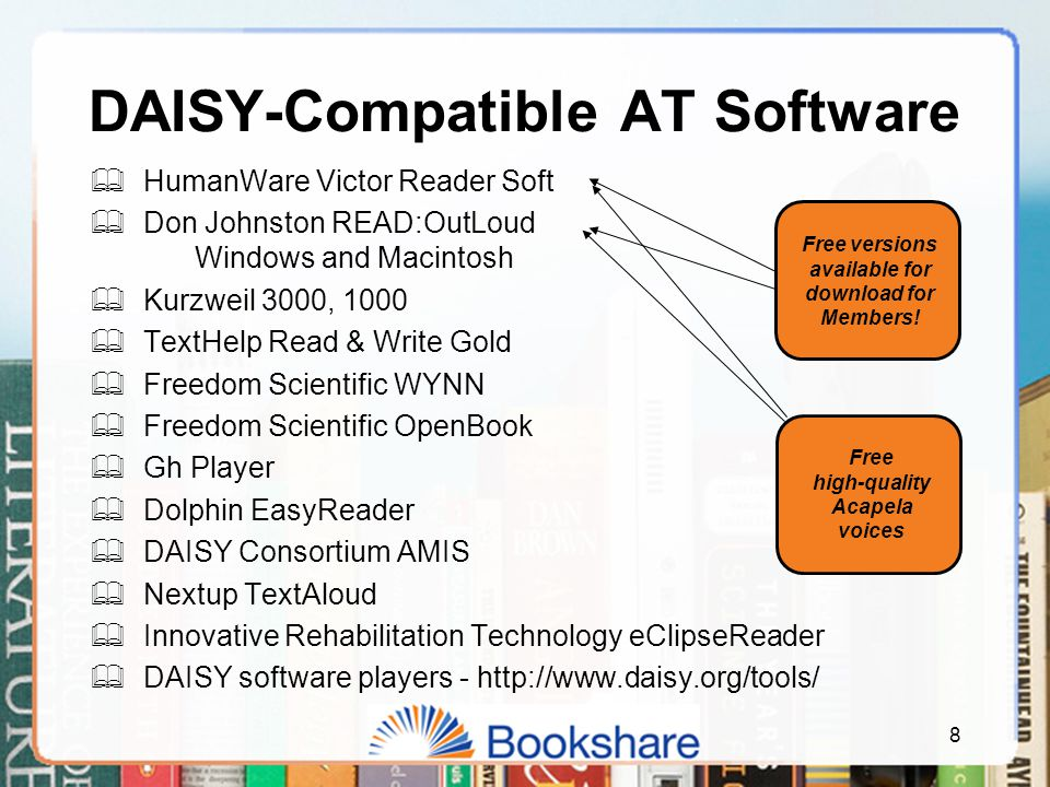 DAISY-Compatible AT Software  HumanWare Victor Reader Soft  Don Johnston READ:OutLoud Windows and Macintosh  Kurzweil 3000, 1000  TextHelp Read & Write Gold  Freedom Scientific WYNN  Freedom Scientific OpenBook  Gh Player  Dolphin EasyReader  DAISY Consortium AMIS  Nextup TextAloud  Innovative Rehabilitation Technology eClipseReader  DAISY software players - http://www.daisy.org/tools/ Free versions available for download for Members.
