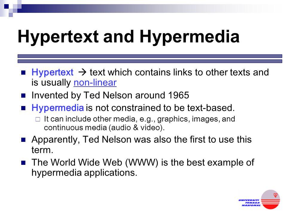 Hypertext, Hypermedia & Multimedia