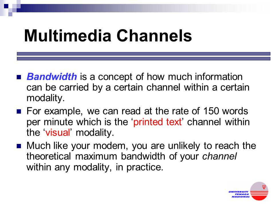 Regularly Used Modalities & Channels Modalities Visual WordsPicturesMovies Auditory NoisesSpeechMusic Channels Modalities