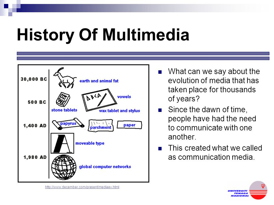 History Of Multimedia What can we say about the evolution of media that has taken place for thousands of years.