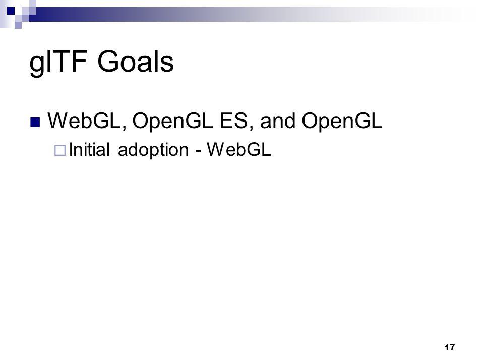 glTF Goals WebGL, OpenGL ES, and OpenGL  Initial adoption - WebGL 17