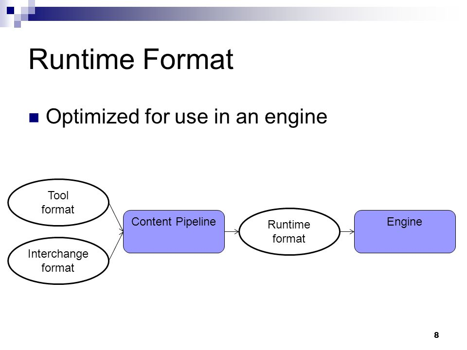 Engines Engines are more than the runtime Example: 9 Runtime C++ Editor C# Pipeline C++ Ships with the game Used by developers, artists, etc.