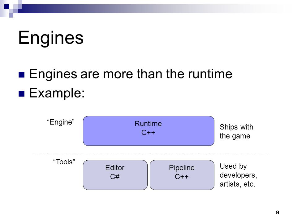 "Engines Engines are more than the runtime Example: 9 Runtime C++ Editor C# Pipeline C++ Ships with the game Used by developers, artists, etc. ""Tools"""