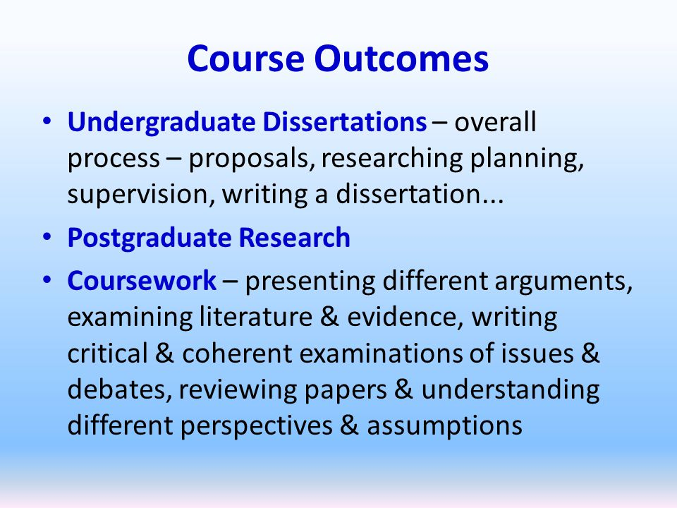supervising undergraduate dissertations Supervising undergraduate research using online and peer supervision kay mac keogh oscail, dublin city university, ireland kaymackeogh@dcuie.