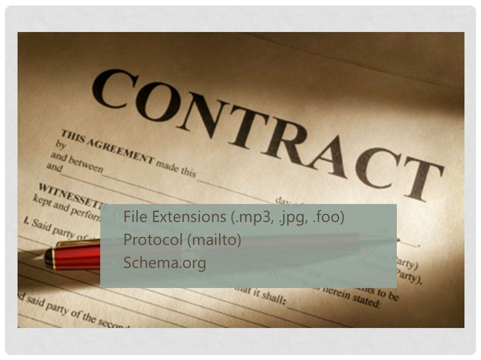 File Extensions (.mp3,.jpg,.foo) Protocol (mailto) Schema.org
