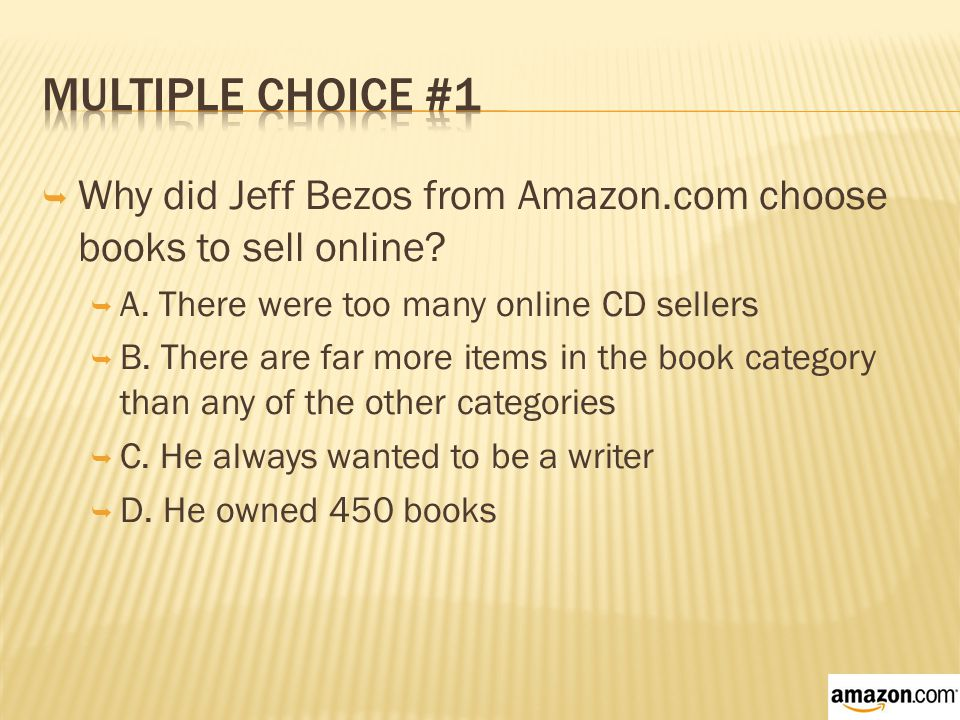  Why did Jeff Bezos from Amazon.com choose books to sell online.