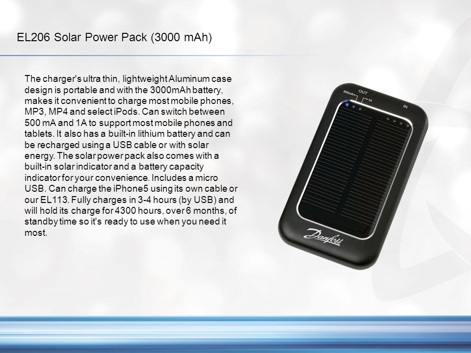 EL202 1 Bank Solar Power Pack (2000 mAh) Give your clients the boost they need.
