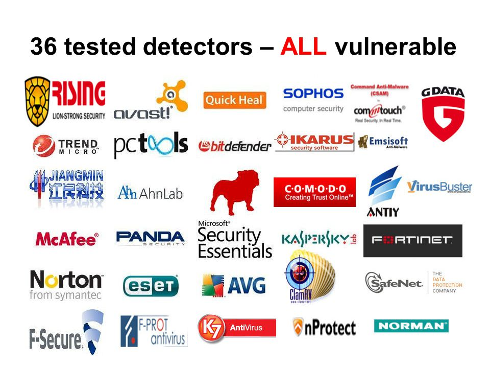 36 tested detectors – ALL vulnerable