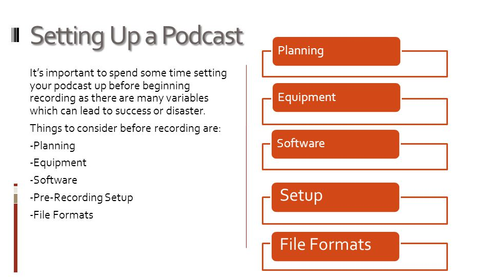 Setting Up a Podcast It's important to spend some time setting your podcast up before beginning recording as there are many variables which can lead to success or disaster.